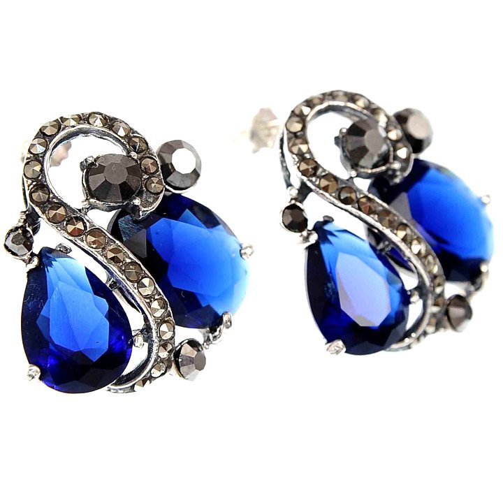 Cercei Royal Blue din Argint & Marcasite