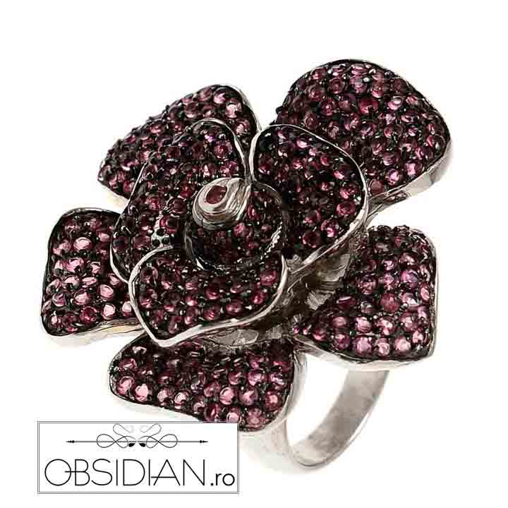 Inel Blossom cu Zirconii Roz & Argint