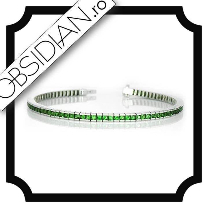 Bratara Tenis cu Zirconii Verzi & Argint