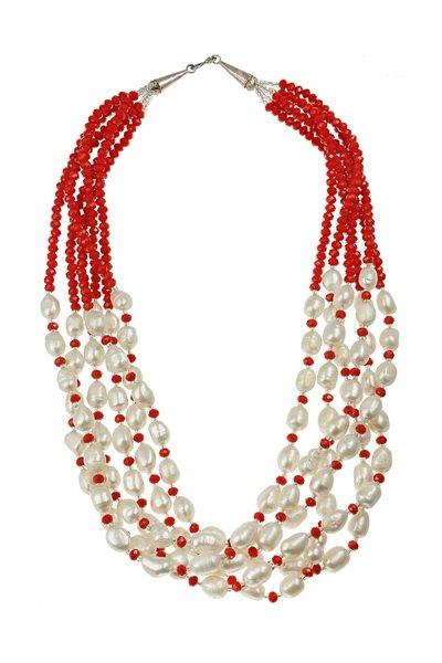 Colier din Perle de Cultura si Cristale Rosii