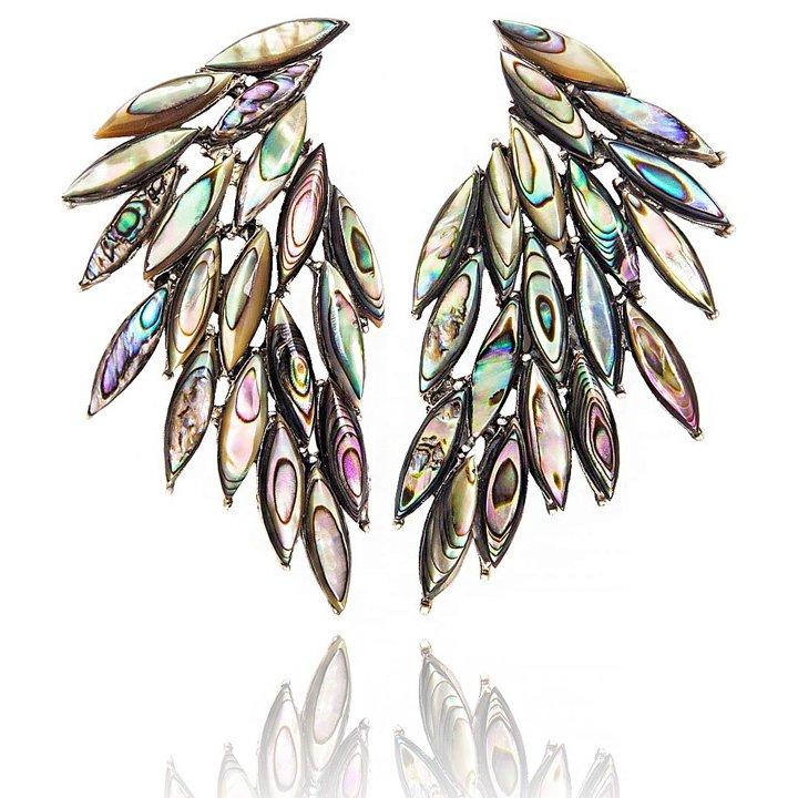 Cercei Azael Wings Dark din Argint cu Sidef