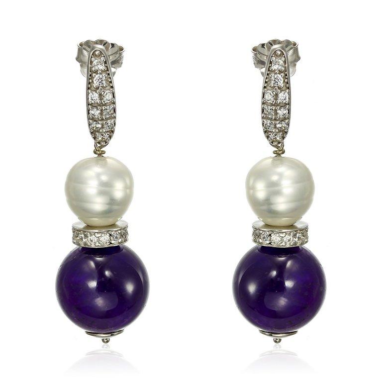 Cercei Perla si Ametist din Argint