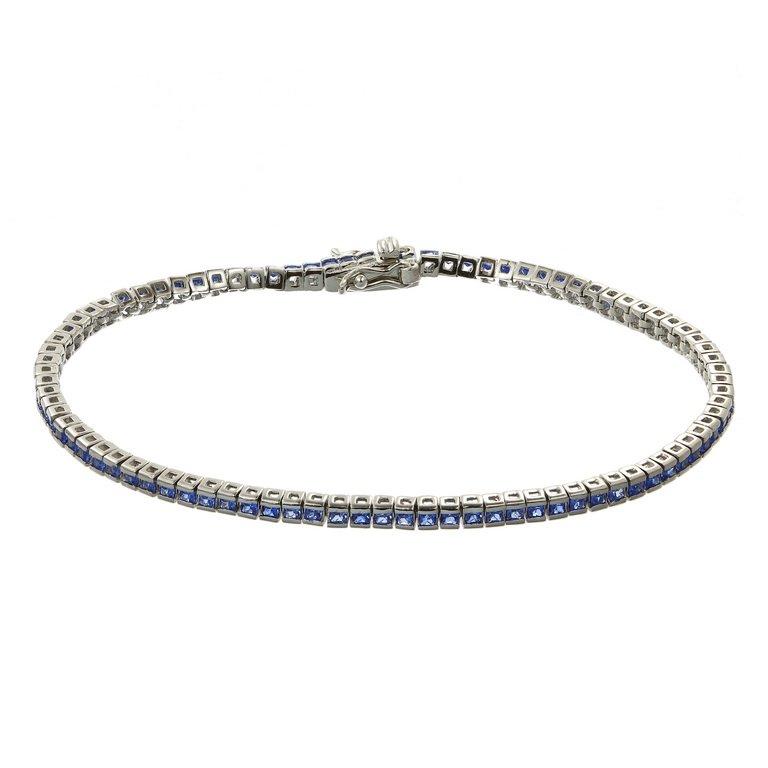 Bratara Tennis Square Blue din Argint