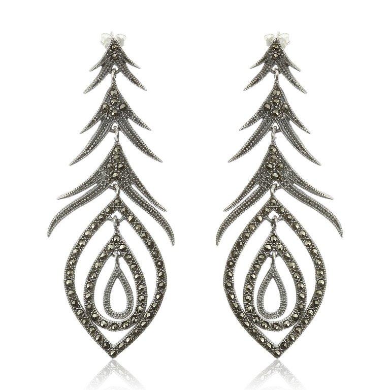 Cercei Peacok din Argint Antichizat