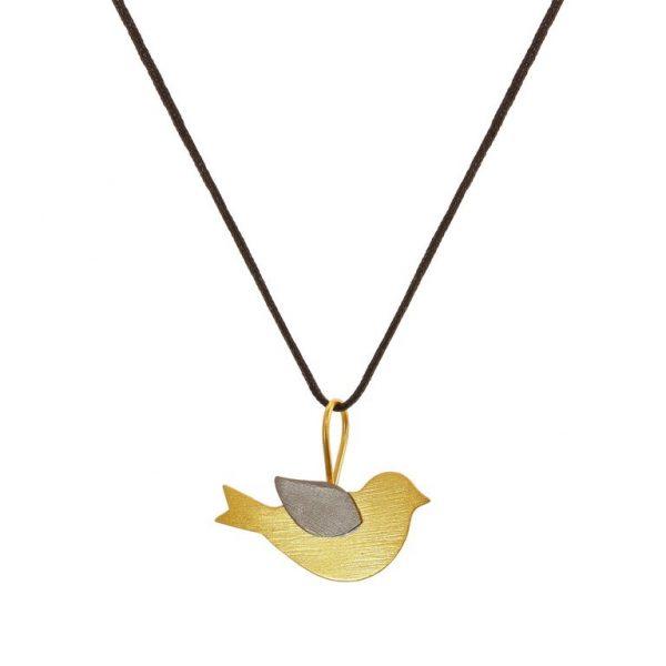 Colier Nightingale din Argint Aurit pe Snur