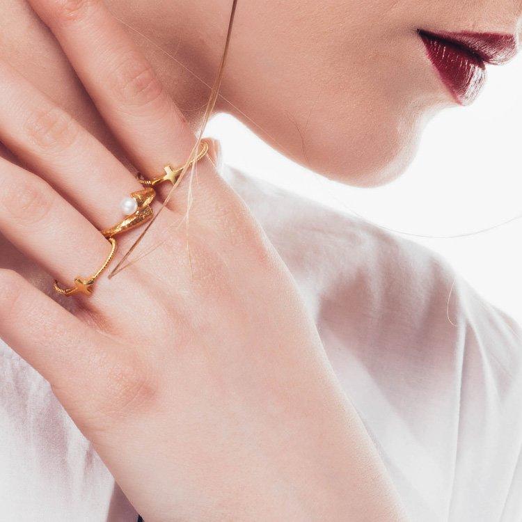 Inel Slim Cross din Argint Aurit
