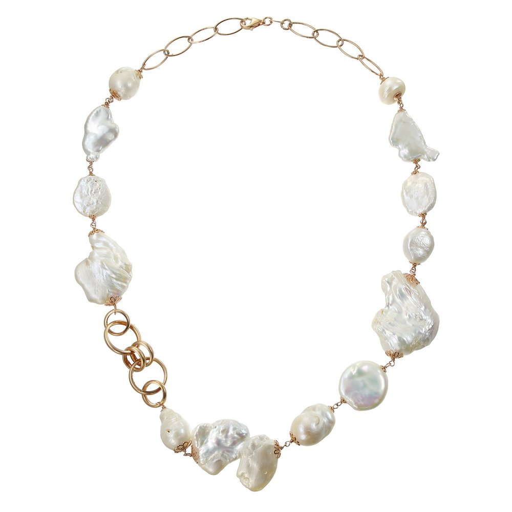 Colier Unicat Rosario cu Perle si Sidef din Argint Aurit Rose