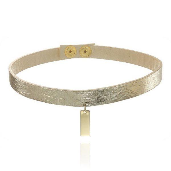 Colier Golden Choker din Piele Naturala si Argint