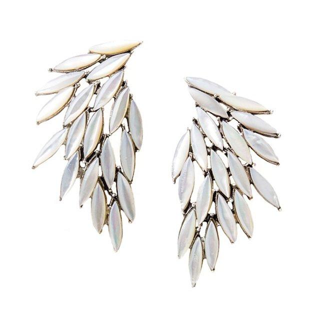 Cercei Azael Wings White din Argint cu Sidef