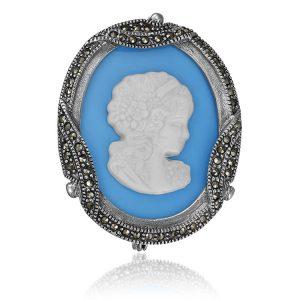 Brosa Blue Cameo din Argint