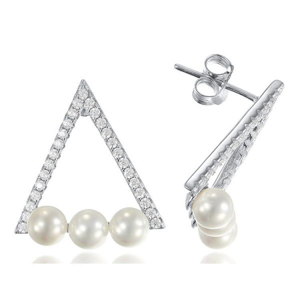 Cercei Piramid on Pearls din Argint