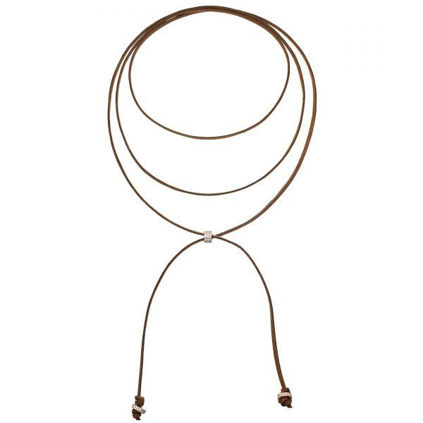 Colier necklet chocolate cu argint aurit