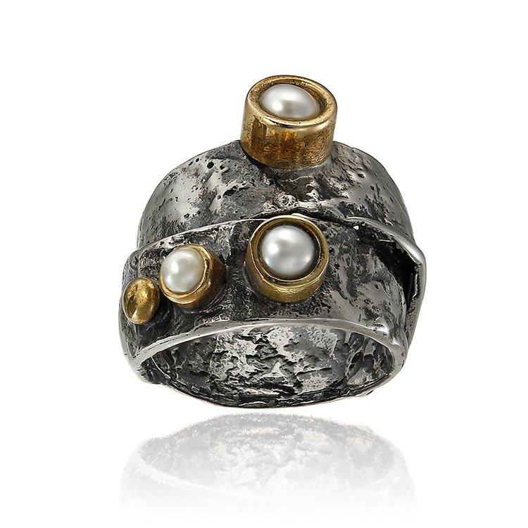 Inel OBSIDIAN Umbria Pearl din Argint