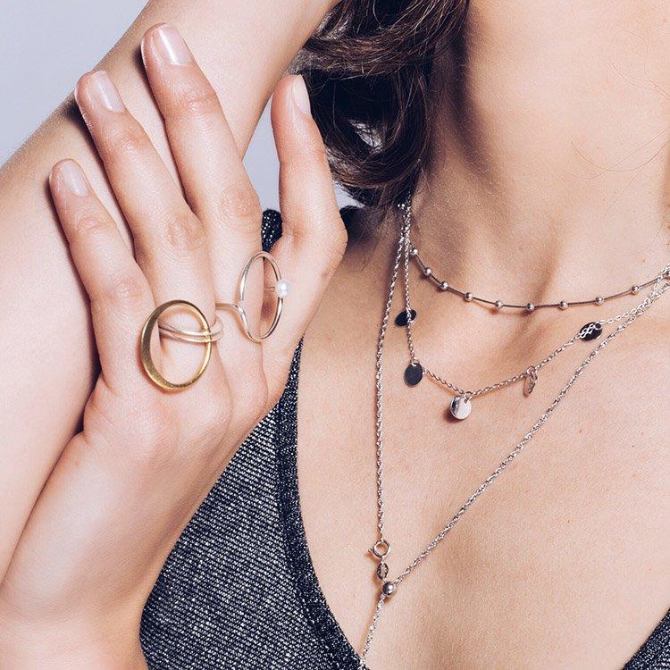Inel Line Meets Pearl din Argint satinat
