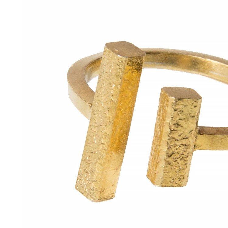 Inel Bi-Bar din Argint Aurit 1