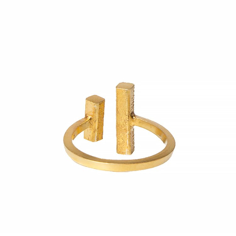 Inel Bi-Bar din Argint Aurit 3