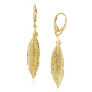 Cercei Phoenix Feather din Argint Aurit