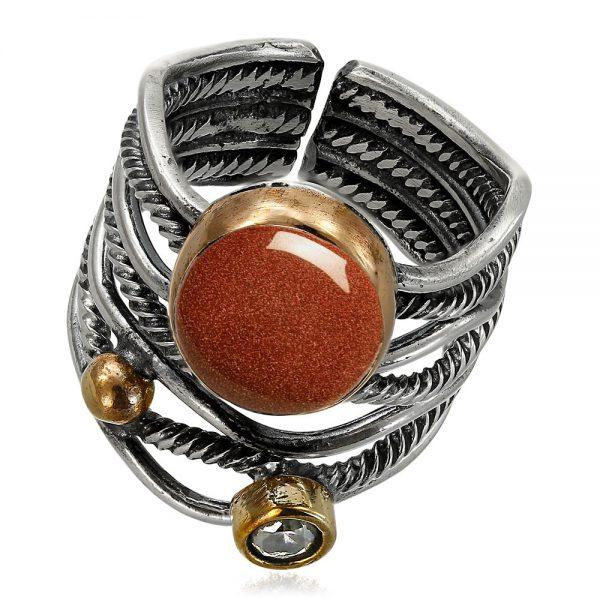 Inel-Tie-Me-Down-din-Argint-Gold-Sandstone-1