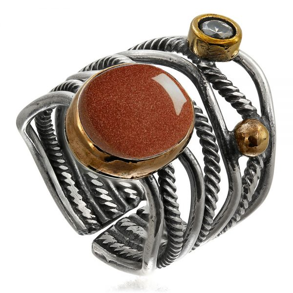 Inel-Tie-Me-Down-din-Argint-Gold-Sandstone-2