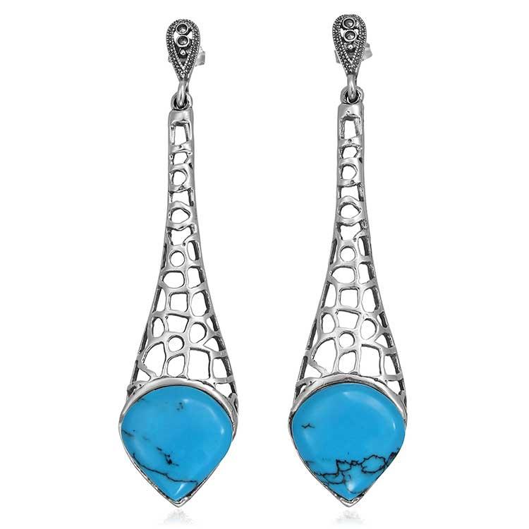 Cercei Drop Azul din Argint