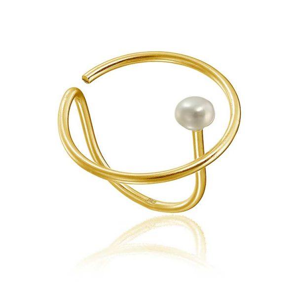 Inel-Line-Meets-Pearl-din-Argint-Aurit-1
