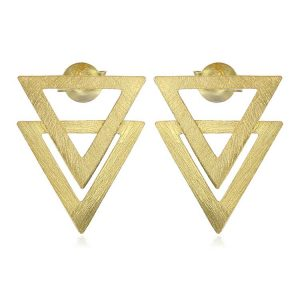 Cercei Piramid din Argint Aurit