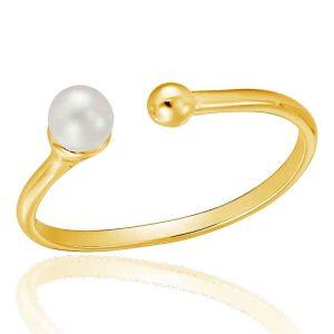 Inel Pearl Torque din Argint Aurit