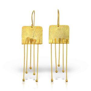 Cercei-A Klimt-Kiss din-Argint-Aurit-1