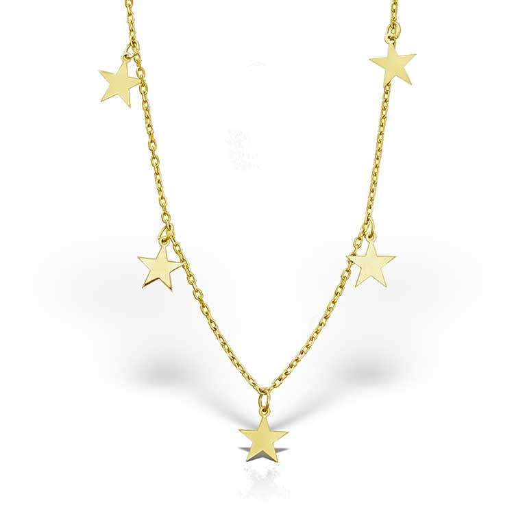Colier-Chained-Stars-din-Argint-Aurit-2