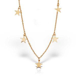 Colier Chained Stars din Argint Aurit-Rosé