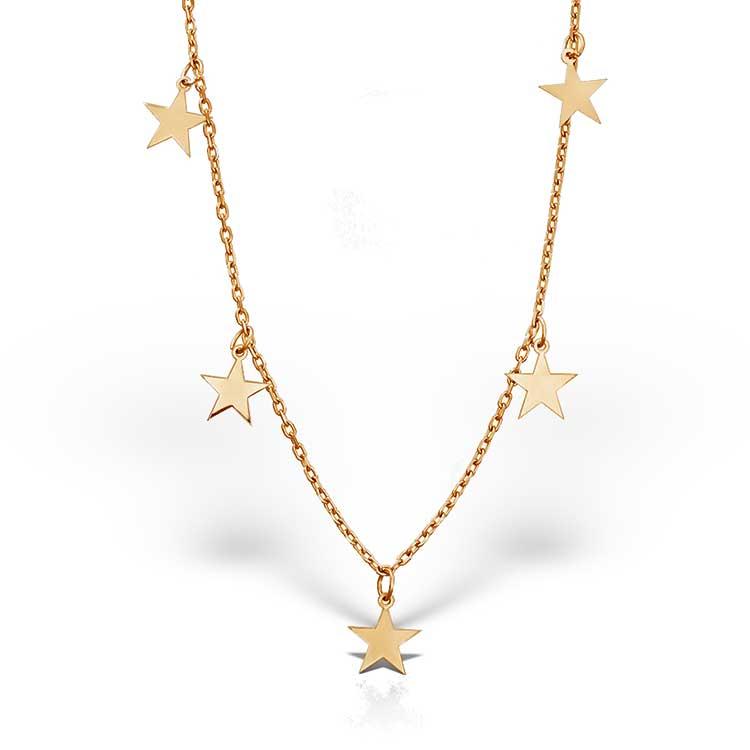 Colier Chained Stars S din Argint Aurit-Rosé