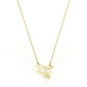 Colier Colibri din Argint Aurit