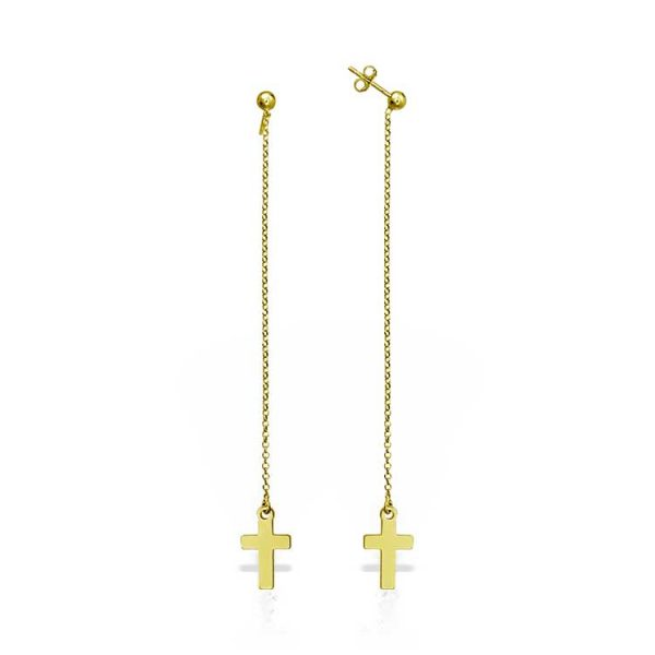 Cercei-Chained-Cross-din-Argint-Aurit-1