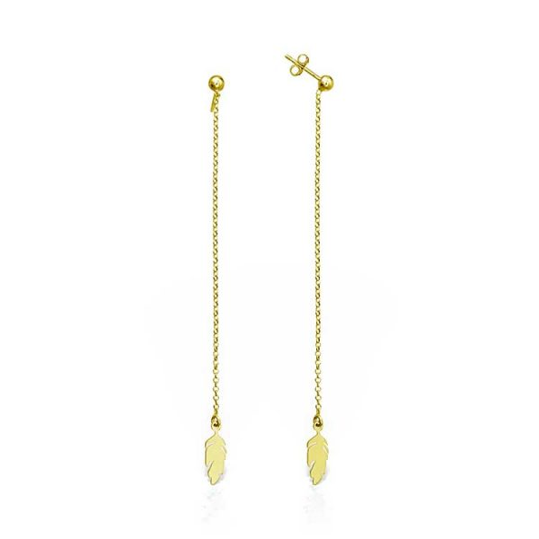 Cercei-Chained-Feather-din-Argint-Aurit-1