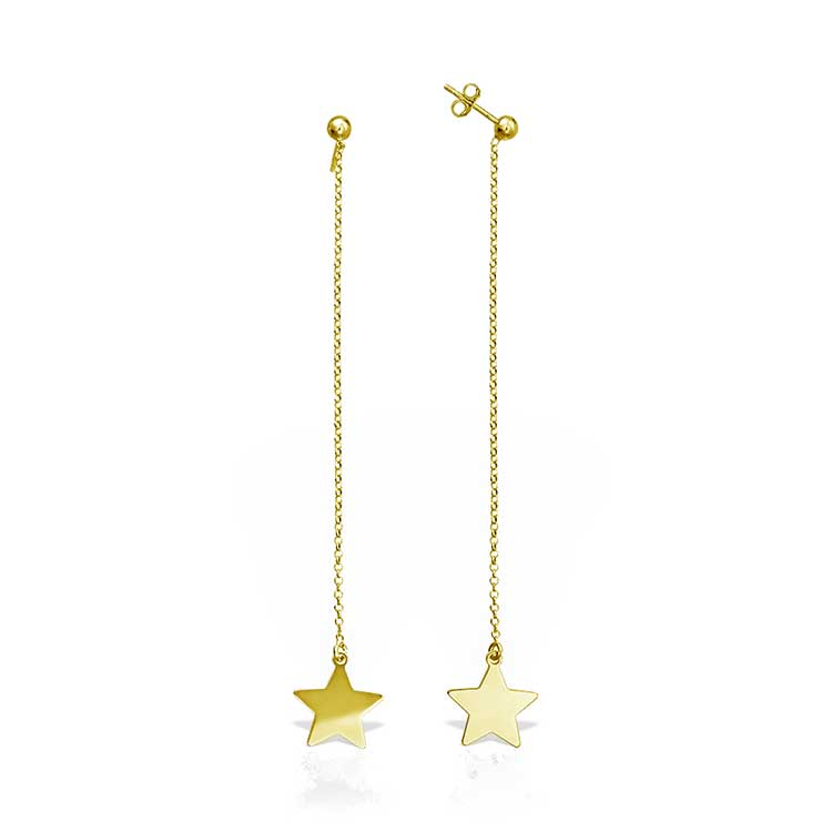 Cercei Chained Star din Argint Aurit