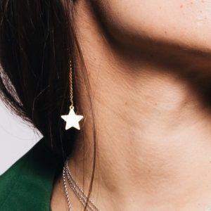 Cercei-Chained-Star-din-Argint-Aurit