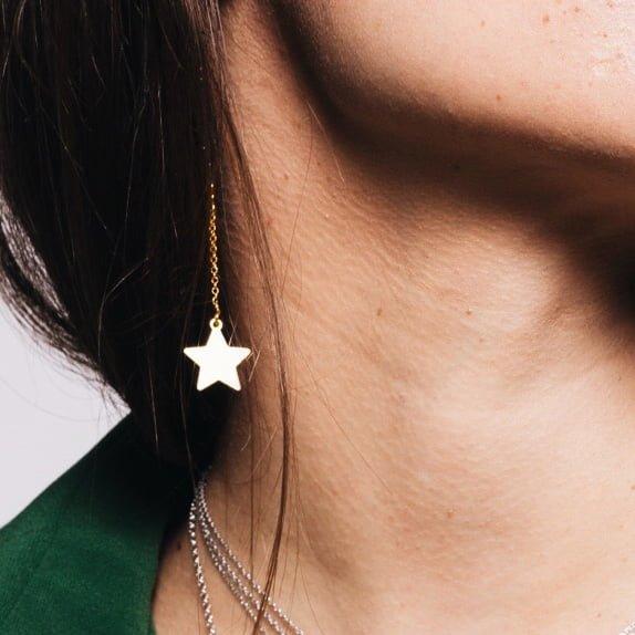 Cercei-Chained-Star-din-Argint-Aurit-3
