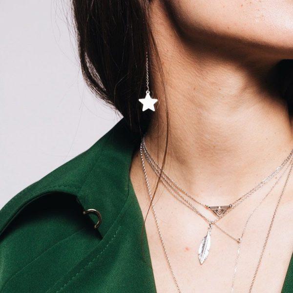 Cercei-Chained-star-din-Argint
