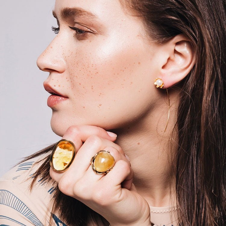 Inel Amber Impure Perfection din Argint Aurit 2