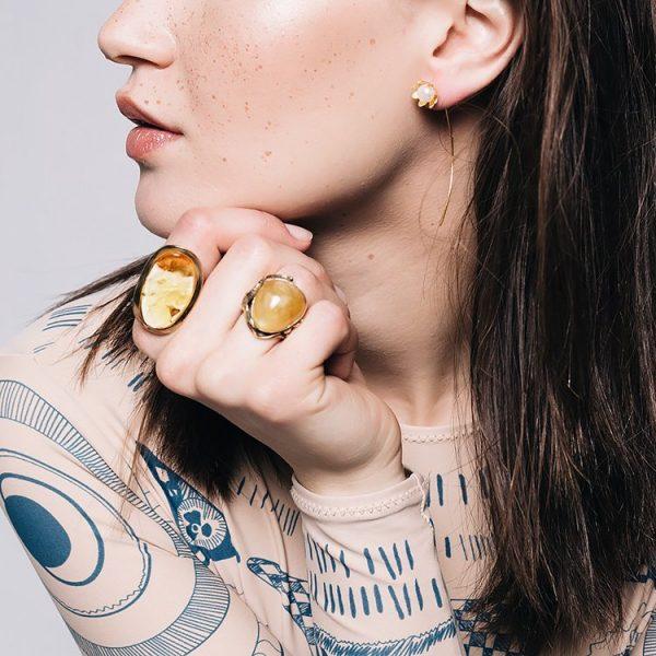 Inel Amber Belle Epoque din Argint Aurit 3