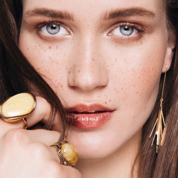 Inel Amber Belle Epoque din Argint Aurit 4
