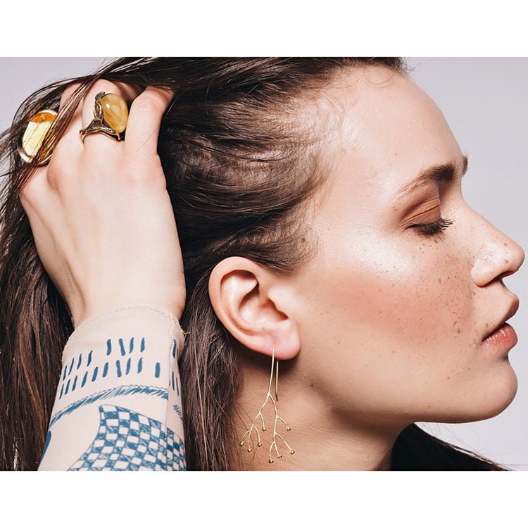 Inel Amber Belle Epoque din Argint Aurit