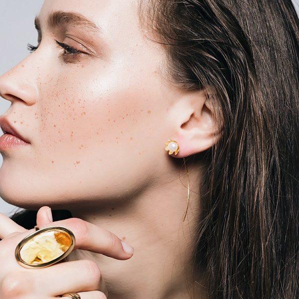 Inel Amber Impure Perfection din Argint Aurit