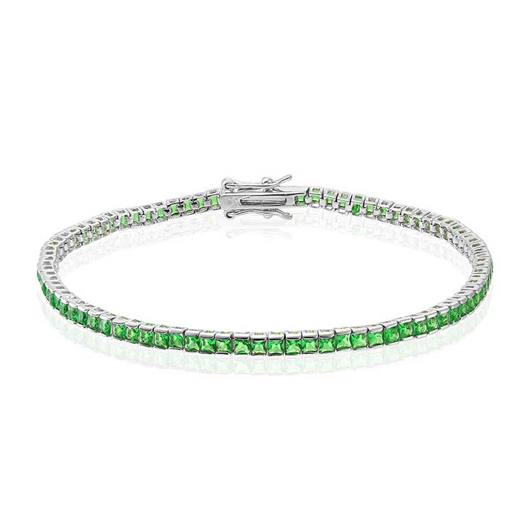 Bratara-Tennis-Square-Green-din-Argint-1