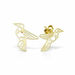 Cercei Origami din Argint Aurit