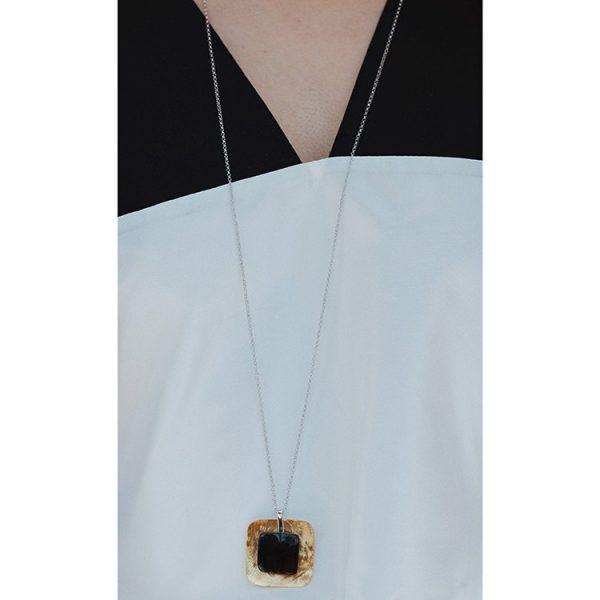 Colier Black Amber on a Plate, Argint Aurit