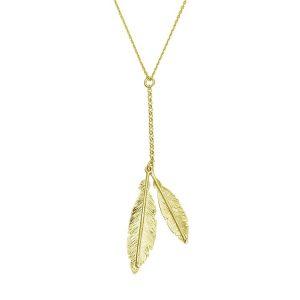 Colier Twin Feathers din Argint Aurit