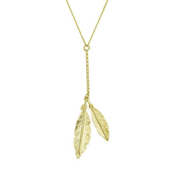 Colier-Twin-Feathers-din-Argint-Aurit-1