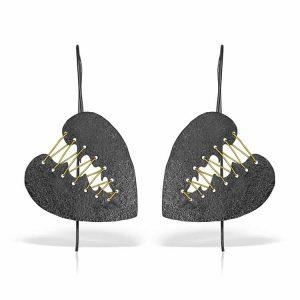 Cercei How to Mend a Black Heart din Argint