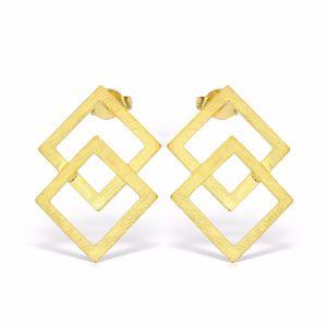 Cercei-Square-Cut-din-Argint Aurit